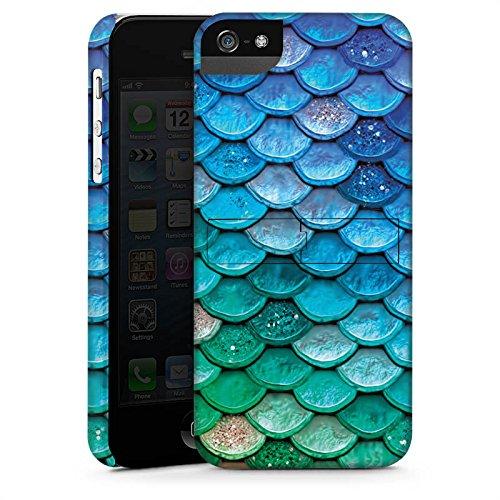 Apple iPhone 5s Hülle Case Handyhülle Schuppen Meerjungfrau Mermaid Premium Case StandUp