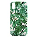 Sasairy iPhone XR Hülle Anti-Kratzer Blumen Muster Ultra Dünn Hart PC Case Cover Handyhülle Schutzhülle für iPhone XR 6.1 Zoll -Grün/ Blätter