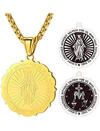 FaithHeart Unisex Halskette Kettenanhänger Stering aus Edelstahl Oval Marian Kreuz Anhänger mit Rolo Kette Viktorianischer Stil Medaille Herren-Chain Schmuck für Dame Herren