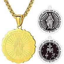 FaithHeart Chaîne Médaille de la Vierge Marie Miraculeuse en Acier  Inoxydable Fin Pendentif Médaillon Communion Baptème 588db4e14a2
