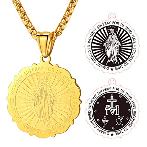 FaithHeart 18 Karat Halskette für Damen mit Maria Mutter Runde Sonne Symbol Heiliges Vergoldet Schmuck für Herren Edelstahl