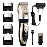 Pet Grooming Clippers, TopElek Pet Hair Shaver, Grooming Trimmer Kit, with Low Noise Low Vibration, Rechargeable Cordless Pet Fur Grooming Set with 4 Comb Guides and Cleaning Brush( Black + Golden)