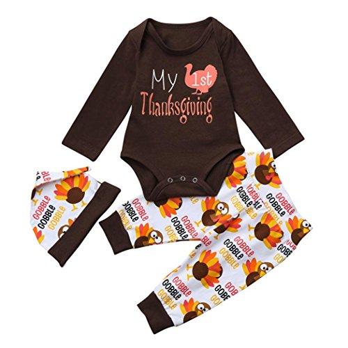 es Baby Mädchen Boy Brief Strampler Tops + Hosen Thanksgiving Outfits Set (Braun, 70 cm) (Neugeborenen Thanksgiving Outfit)