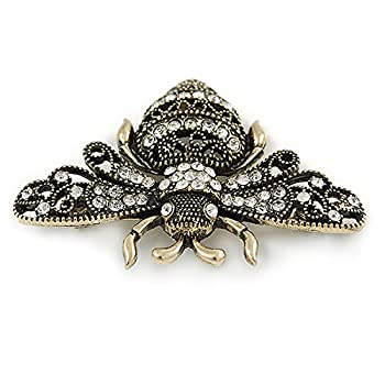 Avalaya Vintage Inspired Crystal Bumble Bee Brooch In Aged Gold Tone - 60mm 3