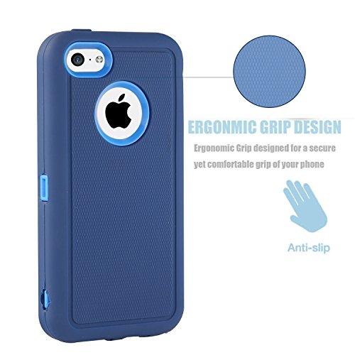 iPhone 5c Hülle : FOGEEK 3in1 Stoßfest Hybrid High Impact Hart PC und Weißhe Silikon Tasche Schutzhülle für iPhone 5c (Weinrot) Dunkelblau