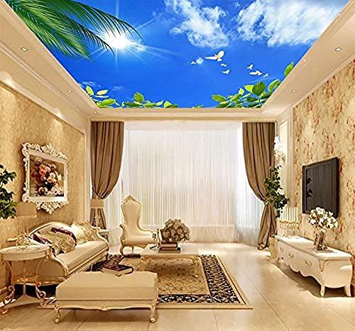 Blätter Blau-tapeten (Tapeten Decke Wohnkultur Blauer Himmel Weiße Wolken Blätter Wand für Wohnzimmer Schlafzimmer Decke 3D Wallpaper Wallpaper)