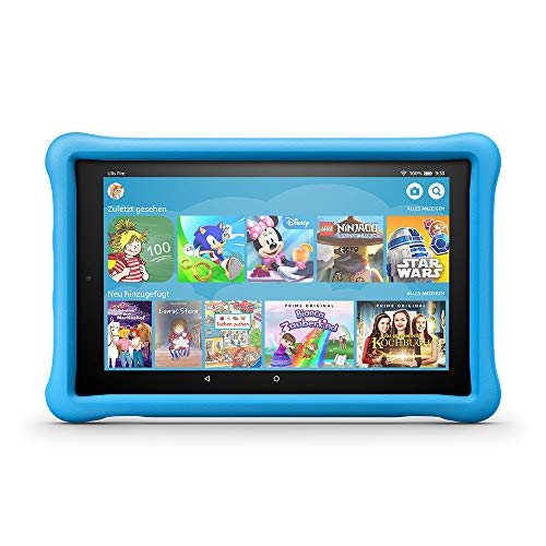 Fire HD 10 Kids Edition-Tablet, 25,65 cm (10,1 Zoll) 1080p Full HD-Display, 32 GB, blaue kindgerechte Hülle Vga-kamera Video