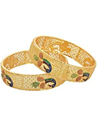 Jewar Mandi Traditional Jewellery 2.6 Inches Gold Plated Bangles 2 Piece Rich Fine Look For Women