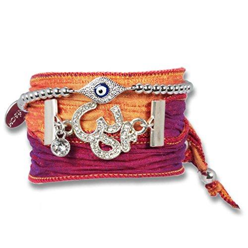 """'""""Orange Shiny Silver OM-Bracciale da Donna Set pura sari di seta con Evil Eye Bracciale di protezione, il potente protezione simbolo, il Negative Power abwehren SOLL. OM è sinonimo di conoscenze spirituale."""