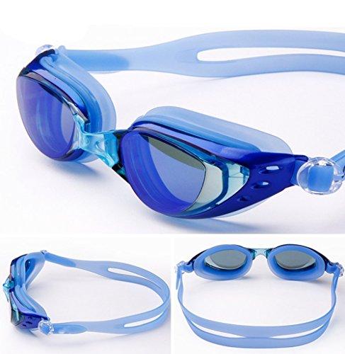 Monbedos Schwimmbrille Galvanotechnik Schwimmbrille Große Rahmen Rahmen Schwimmbrille Anti-Nebel mit UV-Schutz kein Auslaufen für Damen und Herren blau