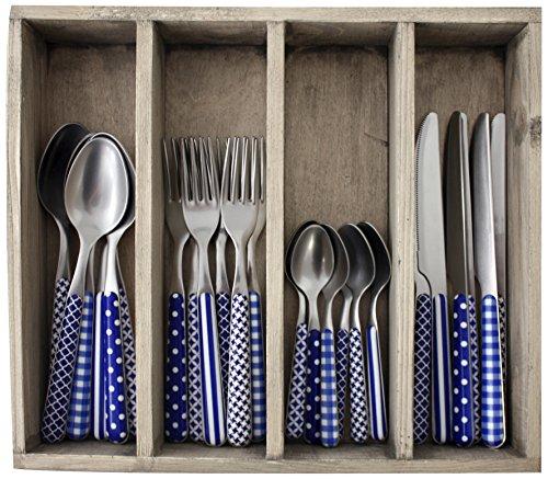 Provence Designs dîner Ensemble de Couverts en Acier Inoxydable, bac, Bleu, 33.5 x 29.5 x 6.5 cm