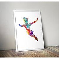 Peter Pan Inspired Watercolor Poster Print regalos - Carteles de TV/películas alternativas en varios tamaños (Marco no incluido)