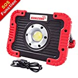 SUNZONE Portable LED COB Work Light,Outdoor Waterproof Flood Lights, for Camping,Hiking,Car Repairing,Workshop,Construction Site,Builtin Rechargeable Battery Power Bank and SOS Emergency Mode (Red Color)