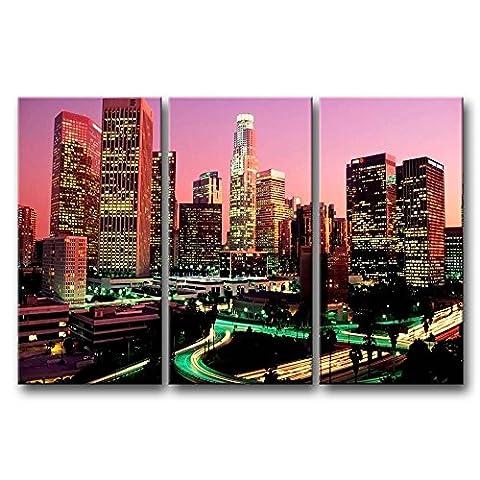 3pièces mur Art Peinture Los Angeles Nuit avec joli Scène de la Photo sur toile Ville Photos huile pour Home Decor imprimé moderne Décoration pour chambre de fille