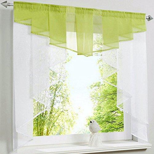 Kleinfenster Voiie Fenstergardine Scheibengardine mit Falten Grün BxH 120x125cm