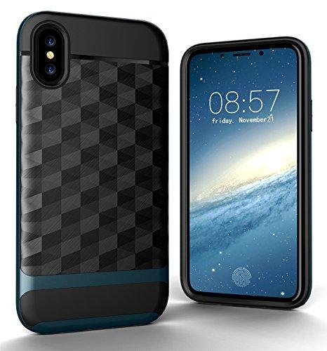 CaseforYou Hülle iphone X Schutz Gehäuse Hülse 3D RhombusBrushed Texture Anti Shock Cover Anti-Slip Protective Shell Schutzhülle für iphone X (Golden) Blue,Navy Blue