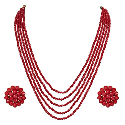DS Opaque Beads Red Five Layer Necklace with Earrings for Women Girls