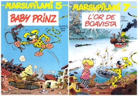 Pack 3 tomes Marsupilami : Tome 4, Le pollen du Monte Urticando. Tome 5, Baby Prinz. Tome 7, L'or de Boavista par André Franquin, Yann, Batem