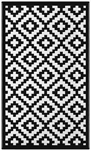 Green Decore 90 x 150 cm Tapis d'Intérieur et d'Extérieur Réversible en Plastique Recyclé, Indoor/Outdoor Tapis Écologique Léger, Noir/Blanc