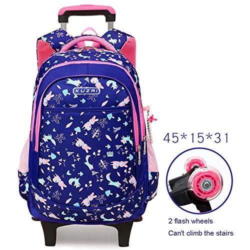 LUCKGXY Kinder Trolley Tasche, Mädchen High Capacity Schule Rucksack abnehmbar 2 Räder Flash Dual Use Rucksack 17.7x5.9x12.2 Zoll (45x15x31 cm),Blue