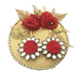 #10: Loops n knots Red & Golden Wedding/ Engagement Ring Platter With 2 Ring Holder (rp141)