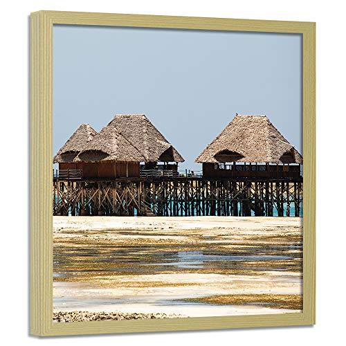F FEEBY WALL DECOR Bild mit Rahmen XXL in Holzfarbe exotische Hütten Fotos Deko Beige 90x90 cm