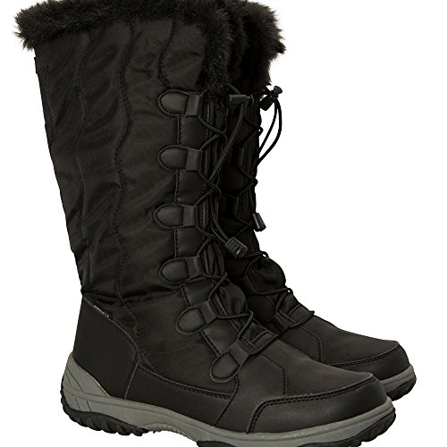 Mountain Warehouse Snowbank Hohe Damen-Snowboots Schwarz 38 EU (Nylon-winter-schnee-stiefel)