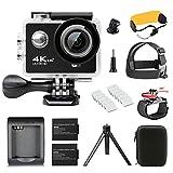 UKSoku Action Kamera WIFI Sport Action Cam 4K Ultra HD 30FPS Wasserdicht 30 Meter Unterwasserkamera Camcorder mit 170 ° Weitwinkel 2 Batterien Zubehör Kits für Drone/Surfen/Tauchen/Outdoor-Sportarten