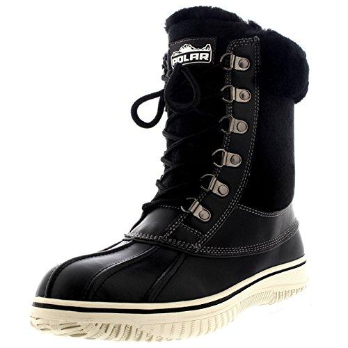 Polar Damen Echten Australischen Schaffell Cuff Winter Schnee Gehen Wasserdicht Schuhe Stiefel - Schwarz - UK9/EU42 - YC0467 (Schaffell Booties)