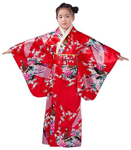 ACVIP Kinder Traditional Retro Ethnische Art Tanz Show Polyester Kimono (140-150, (Tanz Kimono Kostüm)