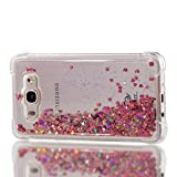 Phcases Case for Samsung Galaxy J7(2016)/J710,Sparkly Shiny Moving Quicksand Slim Clear Transparent Flowing Floating Soft TPU Silicone Shockproof Protective Phone Cover-Rose Red.