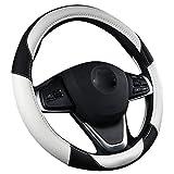 XuanMax Sport Couvre Volant Voiture Cuir Microfibre Universelle 38cm Housse de Volant Voiture 15 Inch Universel Respirant Antidérapante - Blanc...