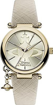 Vivienne Westwood Women's Orb Pop Quartz Analogue Display Watch with Gold Dial and Cream Leather Strap VV006GDCM by Vivienne Westwood