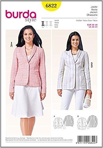 Burda 6822 Schnittmuster Jacke mit Schalkragen (Damen, Gr. 36 - 48) Level 2 leicht