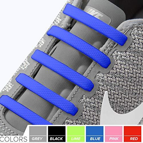 2SPORTIFY Schnürsenkel für Kinder und Erwachsene - Tieless elastische Schnürsenkel für Sneaker, Silikon, Flache Schnürsenkel, 2 Stück, Black + Dark Blue (Toddler Sneaker Converse)