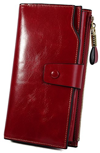 Yaluxe Femme Portefeuille Blocage RFID Grande Capacité Luxueux Cuir Véritable en Veau Ciré Rouge Vineux