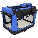 Amzdeal Hundebox Katzentransportbox, Faltbare Transportbox katzen und Hunde, Klappbare Autobox Hundetransportbox, Reisebox mit Weicher Decke und Seitlichem Einstieg, 70 x 52 x 52cm, blau