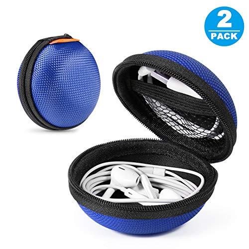 [Set von 2] Tragbare Schutzhüllen aus Eva, Clamshell-Mesh-Stil, Reißverschluss, Innentasche, langlebig, mit Kabel/Bluetooth-Headset, Ohrhörertasche, leicht, Geldbörse, kleine Handtasche (Glcon Bluetooth-headset)