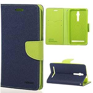 Cubezap Mercury Goospery Fancy Diary Card Wallet Flip Case Back Cover for Asus Zenfone 2 - Green Blue