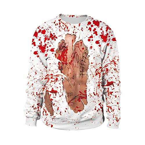 WFTD Halloween Unisex Sweatshirt, Neuheit HD kreative Blut Kleidung Digital Print Paar Pullover Rundhals Langarm-T-Shirt Loses Polyester-Gewebe,XL -
