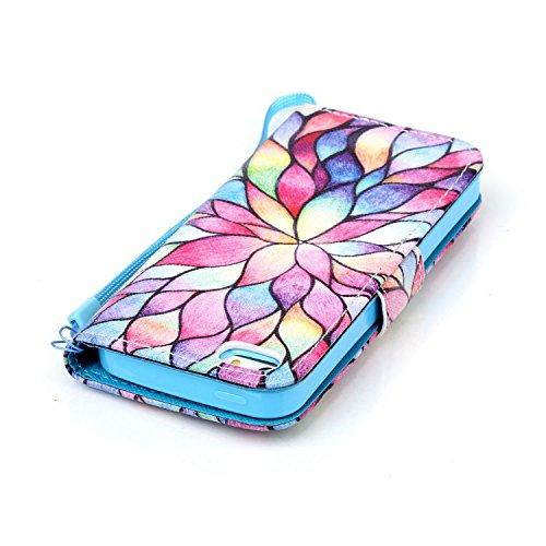 Meet de Apple iPhone 5C Bookstyle Étui Housse étui coque Case Cover smart flip cuir Case à rabat pour Apple iPhone 5C Coque de protection Portefeuille - Have a nice day couleur Lotus