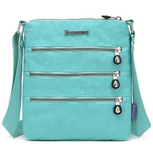 Damentasche Neue koreanische Version der Schulter Messenger Bag wasserdichtem Nylon Canvas Tasche Licht Mummy Reisetasche hellgrün -