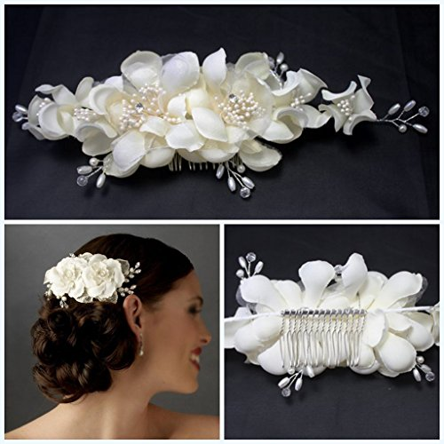 Miya - Tocado, de color blanco, con flores de encaje, ideal para boda