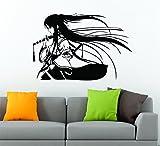 Samurai Geisha Japonaise Katana Épée Anime Arts martiaux Sticker mural en vinyle de décoration de voiture autocollant 80cm x 55cm - Noir