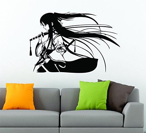 Samurai Geisha japonesa katana espada Anime artes marciales vinilo decorativo adhesivo de decoración de coche adhesivo 80cm x 55cm, negro