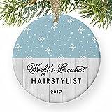 Decoración de árbol de Navidad más grande del mundo peluquería estilista de pelo Xmas Present para peluquería peluquería profesional invierno vacaciones adornos para niños Navidad aniversario regalos