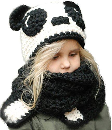 Ababalaya Kinder Junge Mädchen Schalmütze Winter Wolle Gestrickte Panda/Hase/Bär Hüte Schals Mützen Cosplay Fotografie Requisiten für 3-10 Jahre alt,Panda (Gestrickte Bären Hut)