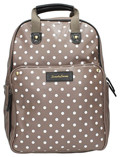 Beau Small Polka Dot Essex Backpack Bag with Matching iPad / Tablet case in Grey Taupe