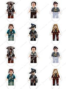 Cakeshop 12 x PRE-CUT Lego Disney Pirates of the Caribbean Stand Up Edible Cake Toppers - Premium Wafer Paper