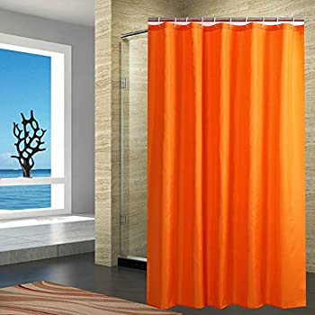FanjowR Mildew Resistant Fabric Shower Curtain Water Repellent Bathroom Solid Color Polyester Bath With 12 Hanging Hooks